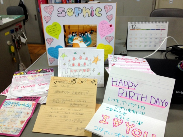 Cards and sweet notes from girls in my English club