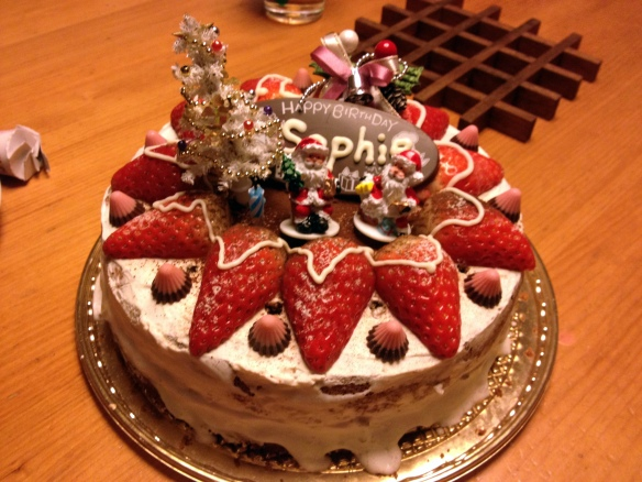 My delicious and beautifully decorated cake made by my host mother