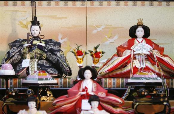 "Japanese ornamental ""hina"" dolls are pictured at a doll shop in Tokyo"