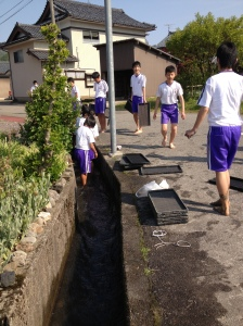 Washing off the mud in the so-called 'gaijin traps'