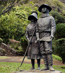 A monument to the Japanese sugar cane workers in the early 20th century