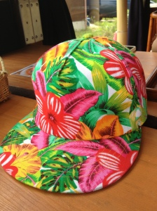 My friend's hat - bought in Japan - Hawaiian inspired fashion.