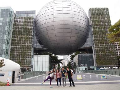 Posing outside Nagoya Science Museum. In the dome is the world's largest planetarium. It was pretty awesome!