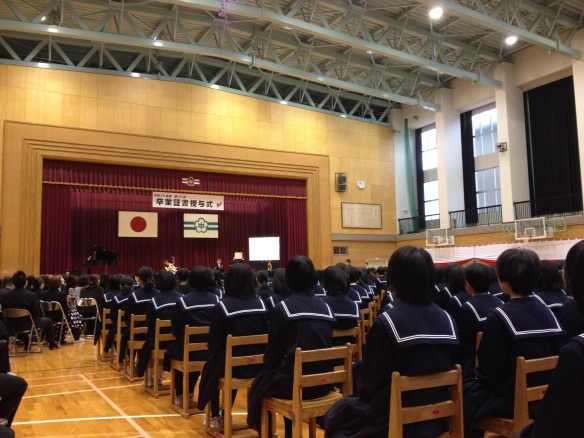 At the very formal graduation ceremony in March.
